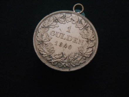 1 Gulden Wilhelm Konig V Württemberg 1840.