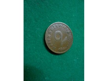 2 Reichspfennig 1938 F  Third Reich