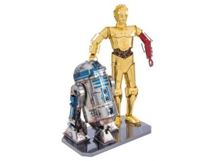 3D metalna maketa - Star Wars, set robot C-3PO + R2D2