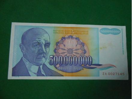 500.000,000 dinara 1993.SR Jugoslavija ZAMENSKA J.Cviji