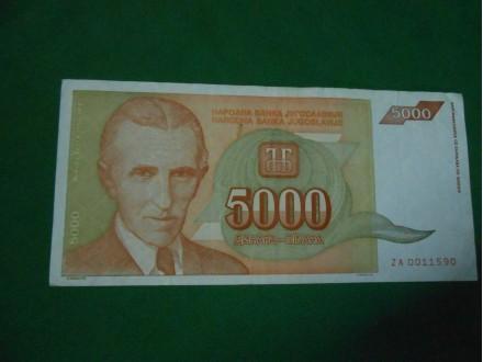 5000 Dinara SR Jugoslavija Nikola TESLA Zamenska