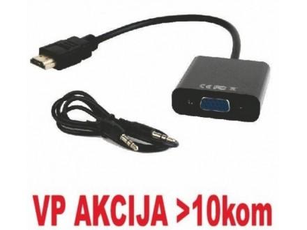 A-HDMI-VGA-03 **Gembird  HDMI to VGA + AUDIO adapter cable, single port, black (altA-HDMI-VGA-06)479