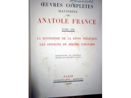 ANATOLE FRANCE - OEUVRES COMPLETES VIII (1926)