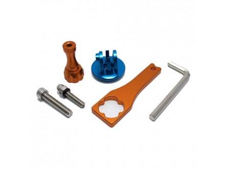 Aluminijumski set za Gopro Hero 4s/4/3+3/2/1 sa kljucem plavo-narandzasti (MS)