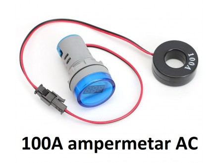 Ampermetar AC 100A plavi displej (220V) - 22mm