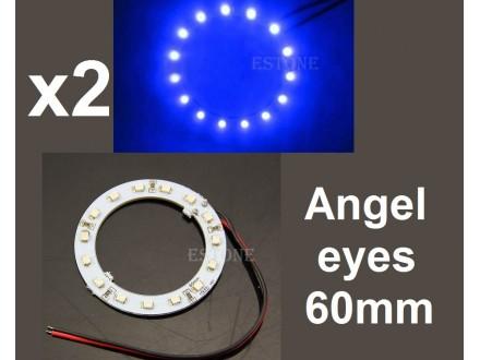 Angel eyes prstenovi - LED - 60mm / 44mm - Plavi