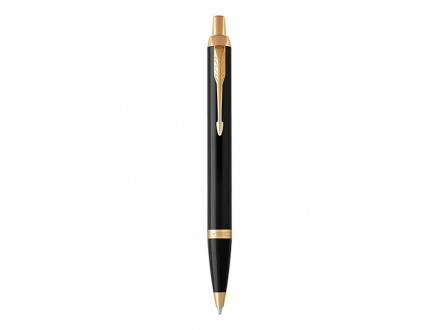 Ballpoint Pen, Black Lacquer Gold Trim with Medium Point Blue Ink Refill - Parker