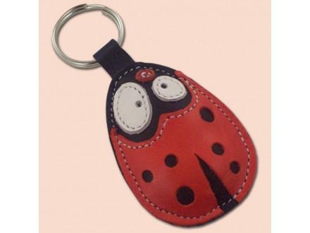 Bubamara kožni privesak za ključeve - crveni