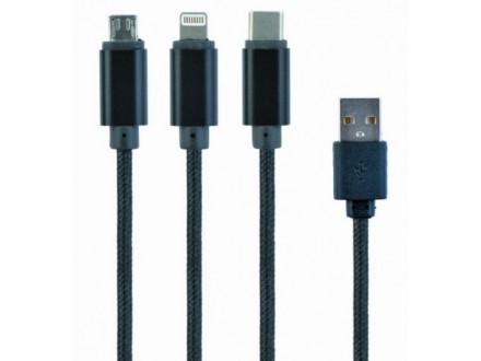 CC-USB2-AM31-1M Gembird USB 3-u-1 kabl za punjenje 8-pin, Type-C, microUSB, crni, 1m