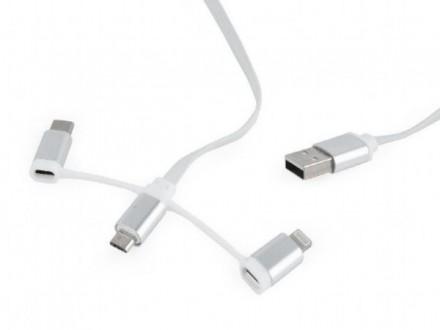 CC-USB2-AMLM32-1M-W USB charging combo 3-in-1 cable, white, 1m (8-pinski,MicroUSB i USB-C konektor)