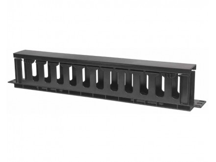 Cable Management Panel 19` 1U with cover crni