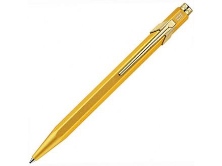 Caran d`Ache 849 Gold Bar Ballpoint Pen with Chrome Trim, Blue Ink - Caran d`Ache