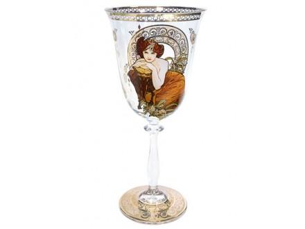 Čaša za vino - Mucha, Precious Stones, Emerald - Mucha
