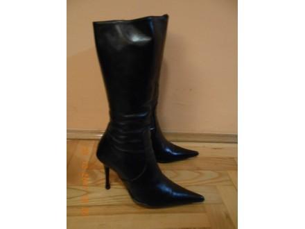 Crne ženske čizme, koža, br. 36