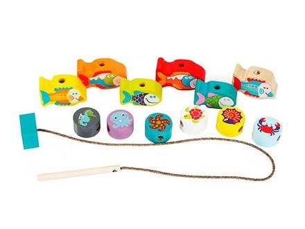 Cubika - Drvena igračka, Nizanje perli ribice 13 elemenata