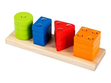 Cubika - Drvena igračka geometrijski oblici, 17 elemenata