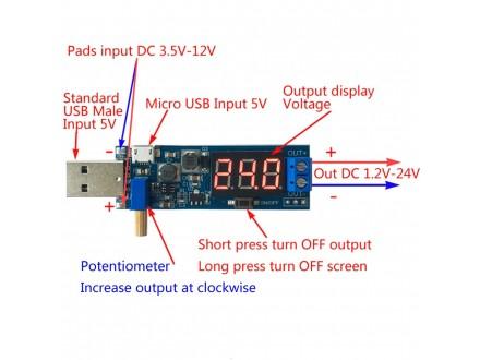 DC-DC Step-Up konvertor sa USB ulazom i LED displejom