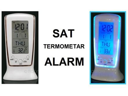 Digitalni sat, termometar, alarm, tajmer - Plavo svetlo