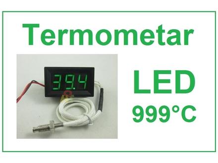 Digitalni termometar sa sondom 0-999°C - LED zeleni
