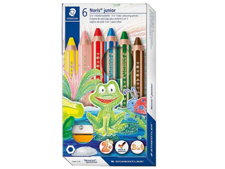 Drvene bojice - Staedtler Buddy 3-in-1 Colouring Pencil 6 Colours + Sharpener