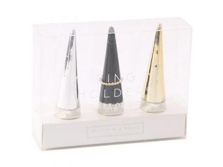 Držač za prstenje, set/3 - W&;R Silver, Gold and Black - Willow&;Rose