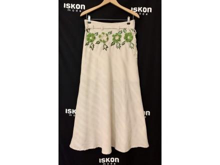 Duga pamučna letnja suknja sa ručno radjenim detaljima