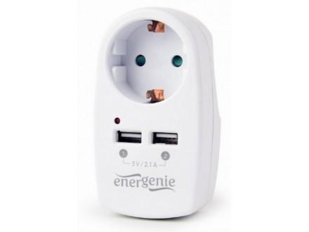 EG-ACU2-02 Gembird 2-portni USB punjac sa prolaznom AC uticnicom, 2,1 A, bela