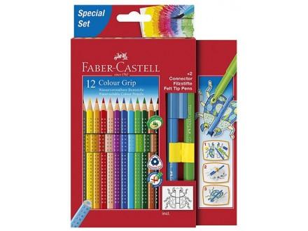 Faber-Castell 12 Coloured Pencils Pack - Connector Felt Tip Pens - Faber-Castell