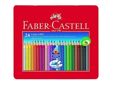 Faber-Castell Coloured Pencil - Grip, Tin Case, 24 - Faber-Castell