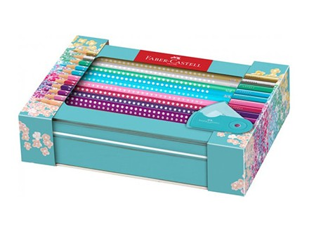 Faber-Castell Sparkle 201641 Gift Set 20 Coloured Pencils and 1 Sleeve Mini Sharpener - Faber-Castell