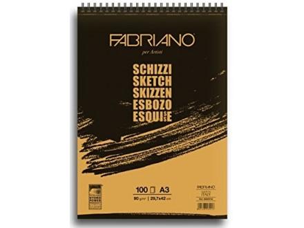 Fabriano Schizzi blok sa spiralom A3/90 gr, 100 listova