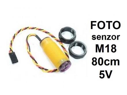 Foto senzor - 80cm - NPN - 5VDC - NO - difuzni