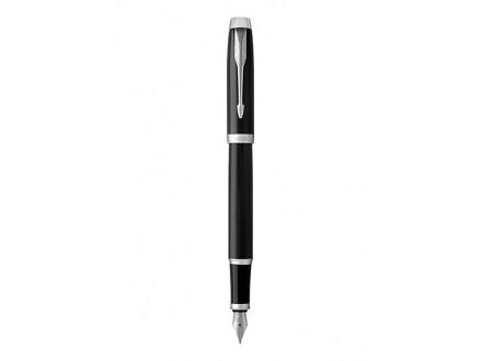 Fountain Pen, Black Lacquer Chrome Trim, Medium Nib with Blue Ink Refill - Parker