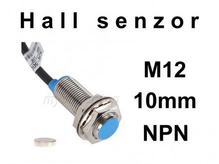 HALL senzor - SM12 - 10mm - NPN - 6-36VDC - NO + magnet