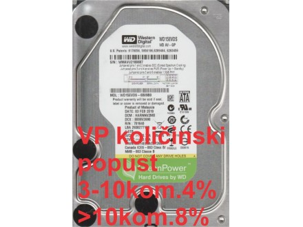 HDD 3.5` ** 1.5TB WD15EVDS WD AV-GP Green IntelliPower 7200RPM 32MB SATA