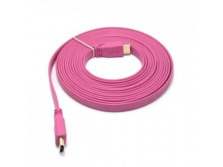 HDMI kabl na HDMI 5m FLAT pink (MS)