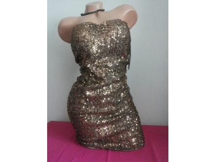 Haljina bronza štras Made in Italy
