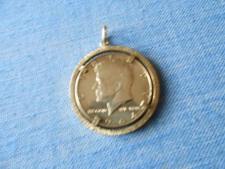 Kennedi pola dolara broš/Gold-Plated Kennedy 1964