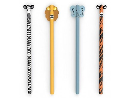 Kikkerland Safari Pencils Set Of 4 - Kikkerland