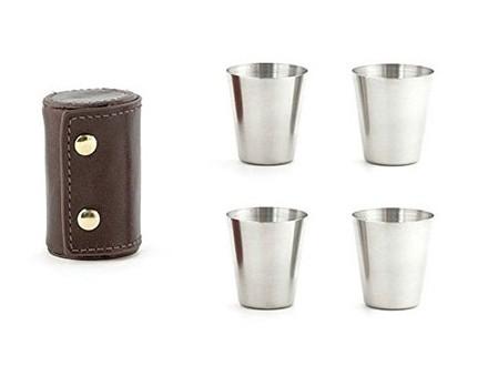 Kikkerland - Shot Glasses with Leather Case, Brown - Kikkerland