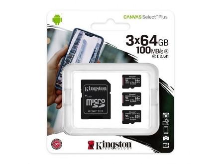 Kingston Canvas Select Plus (sdcs2/64gb-3p1a) memorijska kartica micro SDXC 3x64GB class 10+adapter