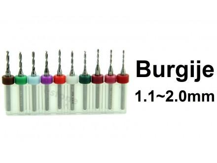 Komplet burgija 1.1-2.0 mm - Mikro burgije - 10 komada