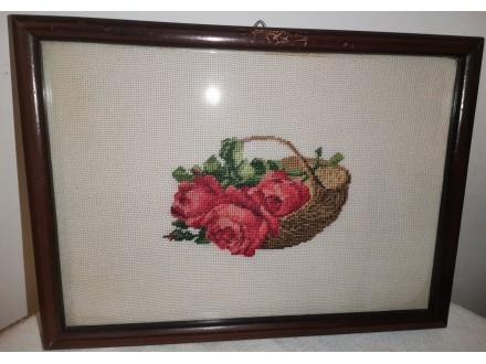 Korb mit Roten Rosen - Vilerov goblen
