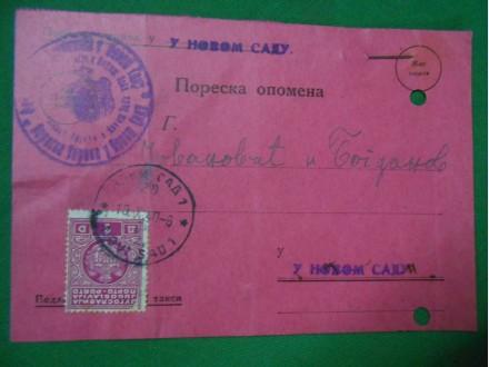 Kraljevina YU PORESKA OPOMENA 1940. N.Sad