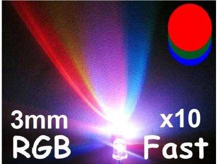 LED RGB dioda - brza - 3mm - 10 komada