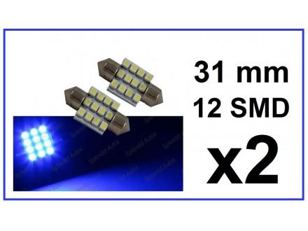LED Sijalica - 31 mm - PLAVA - 12 SMD - 2 kom
