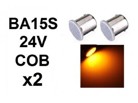LED Sijalica - BA15S - 24V - ZUTA - COB - 2 komada