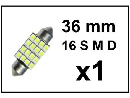 LED Sijalica - za unutrasnjost - 36 mm - 16 SMD - 1 kom
