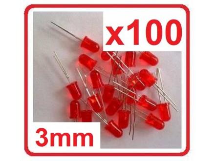 LED dioda - Crvena - 3mm - 100 komada