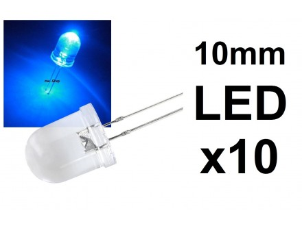 LED dioda - Plava - 10mm - 10 komada